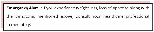 Emergency Alert! : If you experience weight loss, loss of appetite along with the symptoms mentioned above, consult your healthcare professional immediately!
