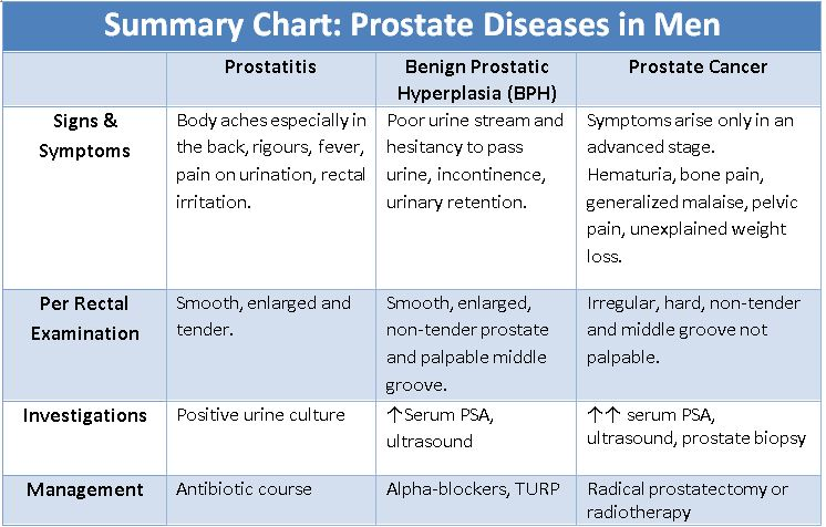 Summary Chart: Prostate Diseases in Men